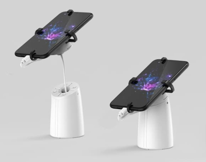 The most powerful mobile phone security display stand.Desktop, retractable, customer can lift up phone or tablet freely to experience;4 metal brackets to provide high anti theft security protection for the phone or tablet displayed in store