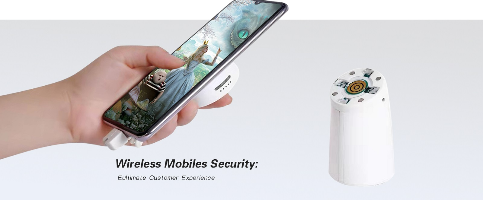 Wireless mobile phone anti theft holder, let customers experience the phones freely in shore, provide ultimate customer experience.Meanwhile,it will alarm when the smartphone are taken out 1.5 meter distance,protecting the mobiles phone from theft